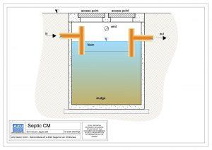 Concrete septic tank, domestic wastewater treatment. Section.