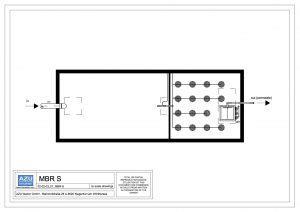 Impianto a membrane MBR S piccolo sistema di trattamento reflui. Pianta.