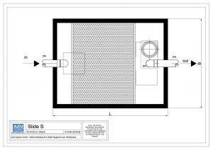 Deoliatore SLIDE S rimozione oli minerali e liquidi leggeri con filtro a coalescenza e otturatore automatico. Pianta.
