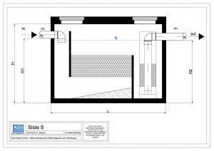 Oil Removal System SLIDE S mineral oil removal with coalescence filter and automatic shutter. Technical section.