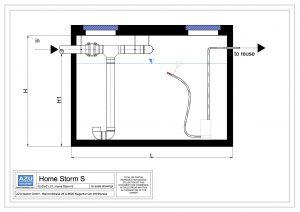Rainwater Harvesting HOUSE STROM equipped with submersible pump and filter. Technical section.