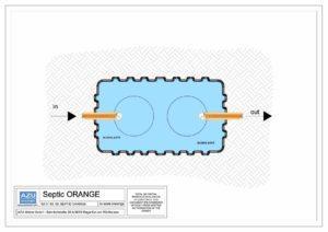 Fossa settica SEPTIC ORANGE, pre-trattamento per reflui di piccole utenze domestiche. Pianta modello.