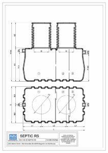 Polyethylene three chamber SEPTIC tank RS. Technical scheme with plan and section.