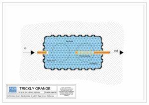 Filtro percolatore anaerobico TRICKLY ORANGE per trattamento reflui civili. Pianta modello.