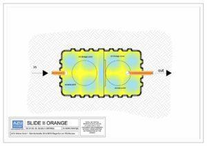 Deoliatore SLIDE II ORANGE trattamento acque piovane di dilavamento. Pianta modello.