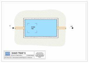 SAND S trappola sabbie e fanghi per impianti separazione liquidi leggeri. Pianta modello.