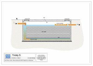 Filtro percolatore anaerobico TRICKLY S per trattamento reflui civili. Sezione modello.