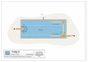 Filtro percolatore anaerobico TRICKLY S per trattamento reflui civili. Pianta modello.