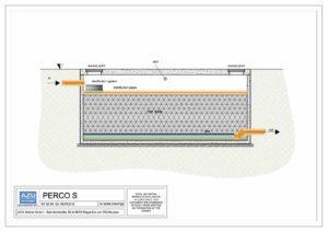 Filtro percolatoreaerobico PERCO S per trattamento reflui civili. Sezione modello.