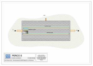 Filtro percolatore aerobico PERCO S per trattamento reflui civili. Pianta modello.