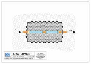 Filtro percolatore aerobico PERCO ORANGE per trattamento reflui civili. Pianta modello.