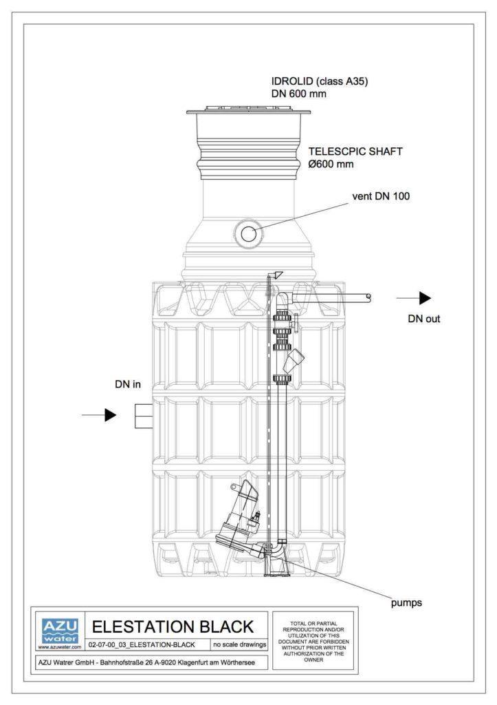 Stazione di sollevamento acque reflue professionale in polietilene. Sezione modello.