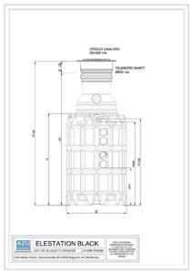 Stazione di sollevamento acque reflue professionale in polietilene. Prospetto.